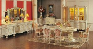 Set Meja Makan Mewah Ukir Klasik Modern