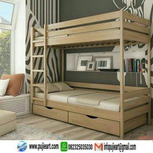 Tempat Tidur Tingkat Kayu Jati Minimalis