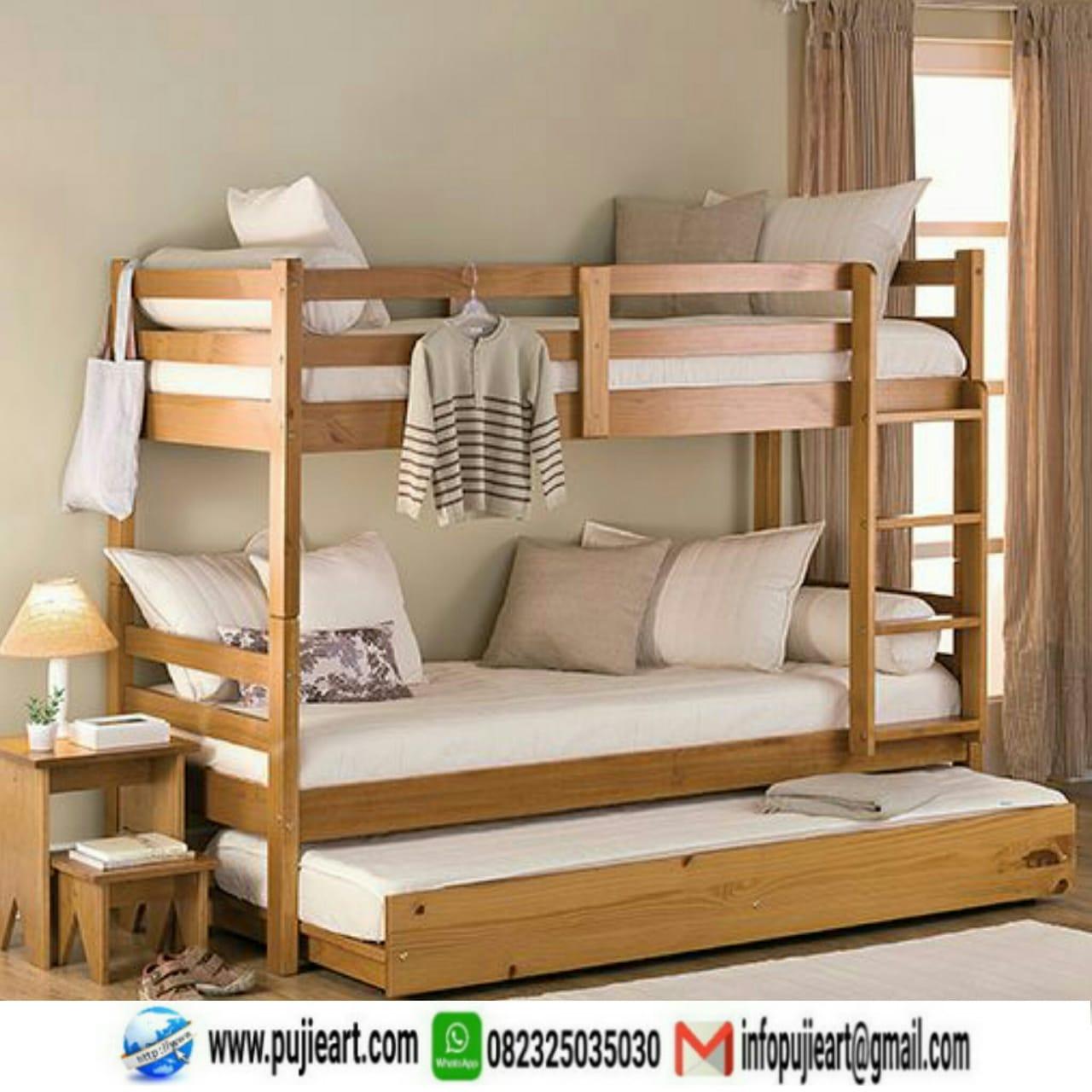 Tempat Tidur Tingkat Kayu Jati Modern