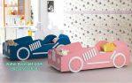Tempat Tidur Anak Kembar Mobil Pink Biru