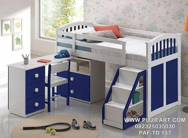 Desain Tempat Tidur Anak Susun Dengan Meja Belajar