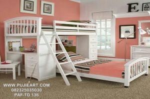 Tempat Tidur Anak Susun Dengan Meja Belajar