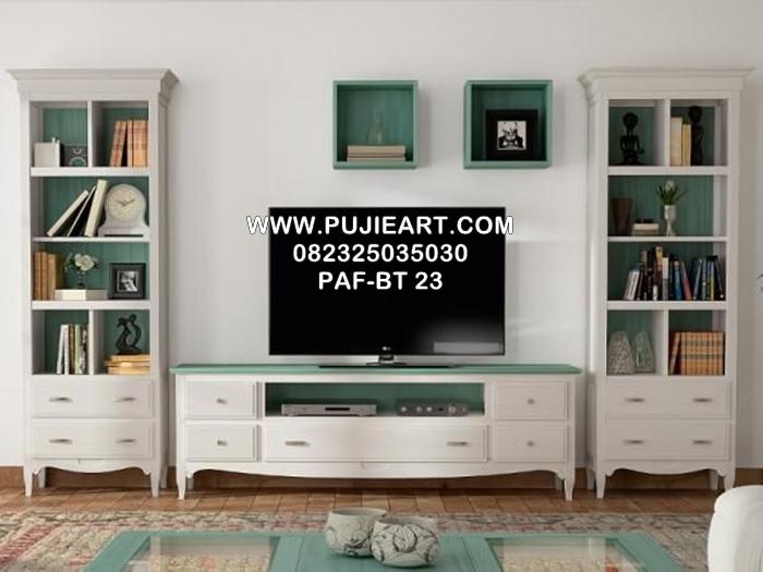 Gambar Meja Tv Minimalis Kayu Cat Duco Warna Putih