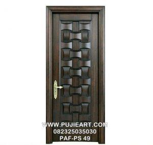Pintu Kayu Jati Motif Anyaman Minimalis Murah