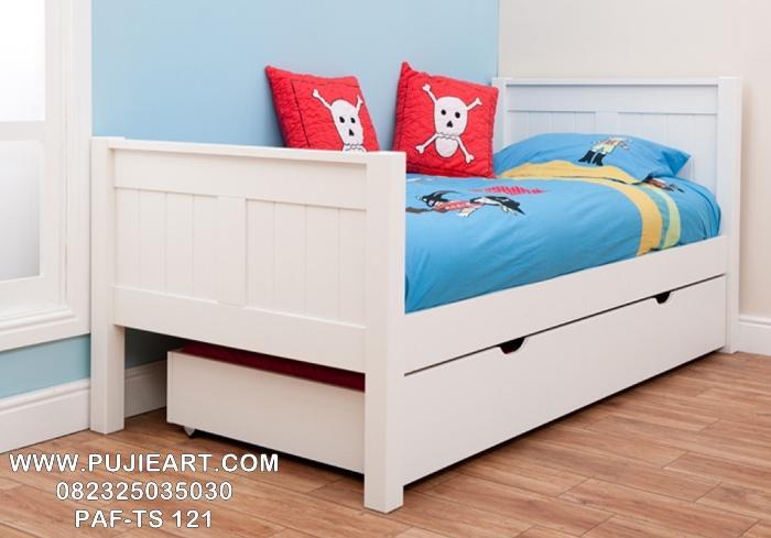 Tempat Tidur Anak Sorong Murah Cat Duco Putih