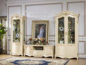Bufet Tv Mewah Ukir Klasik Elegan Putih